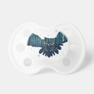 Snowy Winter Forest and Owl 2 Baby Pacifier