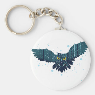 Snowy Winter Forest and Owl 2 Basic Round Button Keychain