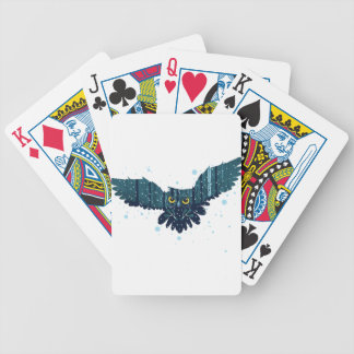 Snowy Winter Forest and Owl 2 Bicycle Playing Cards