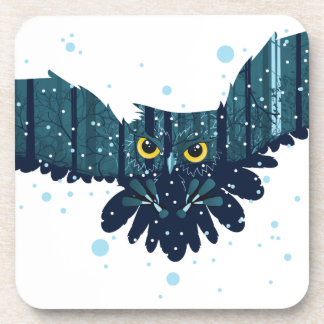 Snowy Winter Forest and Owl 2 Coaster