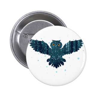 Snowy Winter Forest and Owl 2 Inch Round Button