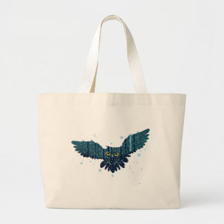Snowy Winter Forest and Owl 2 Large Tote Bag