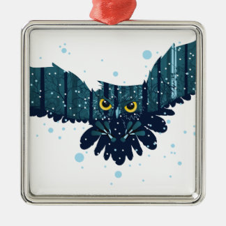 Snowy Winter Forest and Owl 2 Metal Ornament