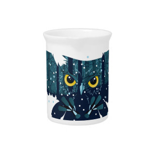 Snowy Winter Forest and Owl 2 Pitcher