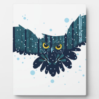 Snowy Winter Forest and Owl 2 Plaque