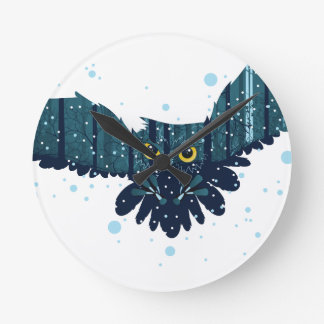 Snowy Winter Forest and Owl 2 Round Clock