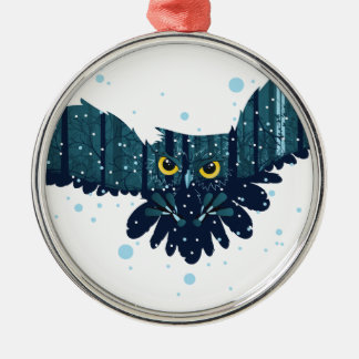 Snowy Winter Forest and Owl 2 Silver-Colored Round Ornament