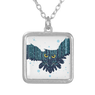 Snowy Winter Forest and Owl 2 Silver Plated Necklace