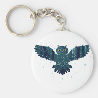 Snowy Winter Forest and Owl Basic Round Button Keychain