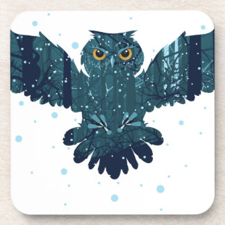 Snowy Winter Forest and Owl Beverage Coasters