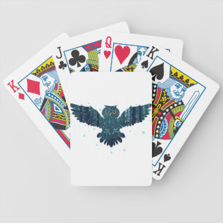 Snowy Winter Forest and Owl Bicycle Playing Cards