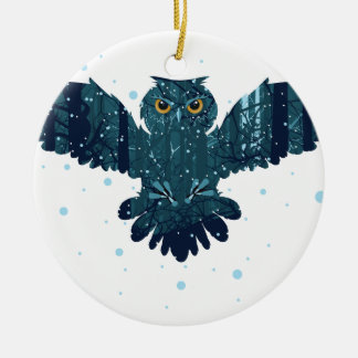 Snowy Winter Forest and Owl Ceramic Ornament