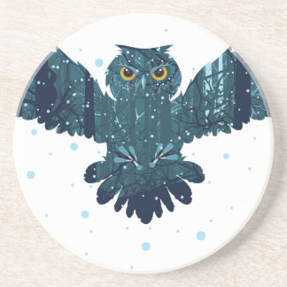 Snowy Winter Forest and Owl Drink Coaster