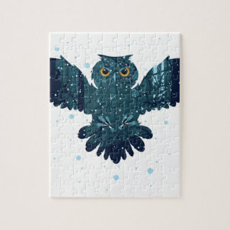 Snowy Winter Forest and Owl Jigsaw Puzzle