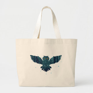 Snowy Winter Forest and Owl Large Tote Bag