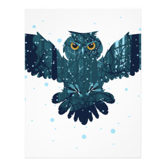 Snowy Winter Forest and Owl Letterhead
