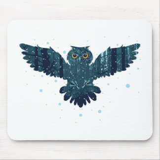 Snowy Winter Forest and Owl Mouse Pad