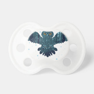 Snowy Winter Forest and Owl Pacifier