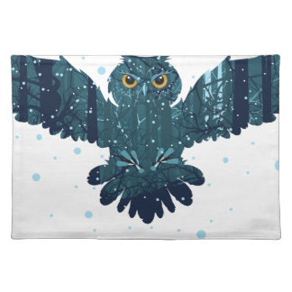 Snowy Winter Forest and Owl Placemat