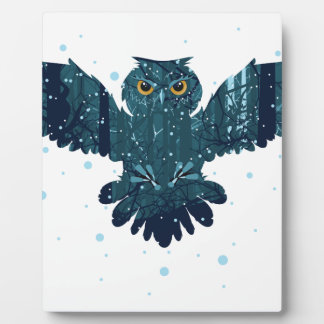 Snowy Winter Forest and Owl Plaque