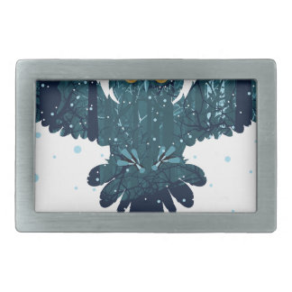 Snowy Winter Forest and Owl Rectangular Belt Buckles