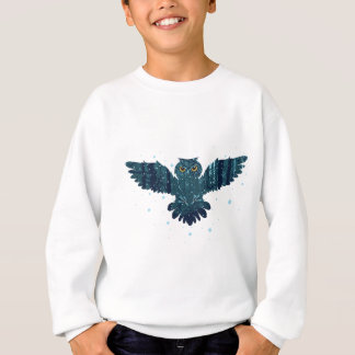 Snowy Winter Forest and Owl Sweatshirt