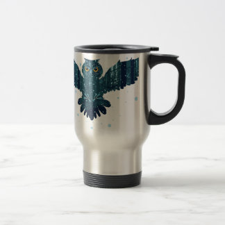 Snowy Winter Forest and Owl Travel Mug