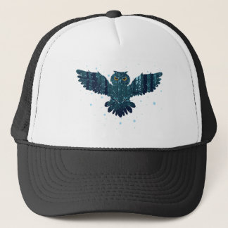 Snowy Winter Forest and Owl Trucker Hat