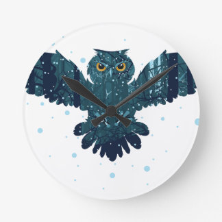 Snowy Winter Forest and Owl Wall Clocks
