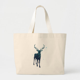 Snowy Winter Forest with Deer 2 Large Tote Bag