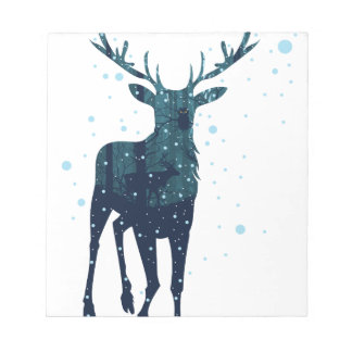Snowy Winter Forest with Deer 2 Notepad