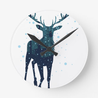Snowy Winter Forest with Deer 2 Round Clock