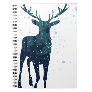 Snowy Winter Forest with Deer 2 Spiral Notebook