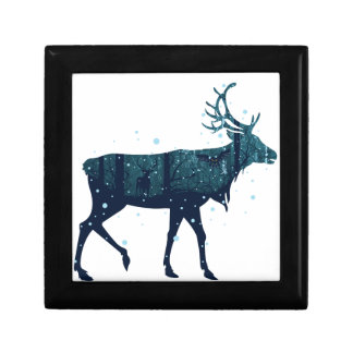 Snowy Winter Forest with Deer Gift Box