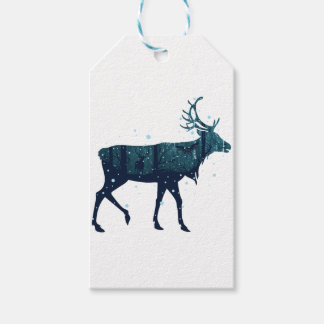 Snowy Winter Forest with Deer Gift Tags