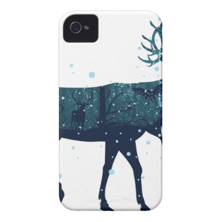 Snowy Winter Forest with Deer iPhone 4 Case