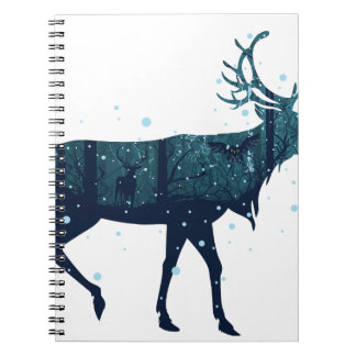 Snowy Winter Forest with Deer Notebooks