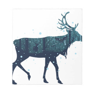 Snowy Winter Forest with Deer Notepad