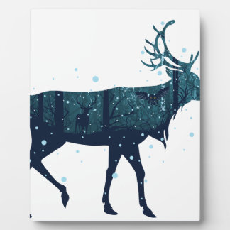 Snowy Winter Forest with Deer Plaque