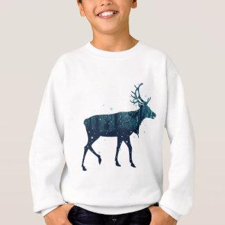 Snowy Winter Forest with Deer Sweatshirt