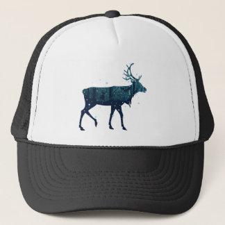 Snowy Winter Forest with Deer Trucker Hat