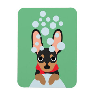 Snowy Winter Miniature Pinscher Dog Magnet