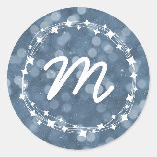 Snowy Winter Night Bokeh Holiday Monogram Classic Round Sticker