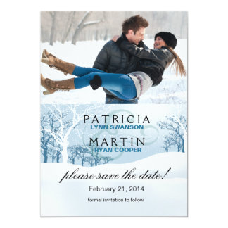 Snowy Winter Save the Date Photo - ice blue Card