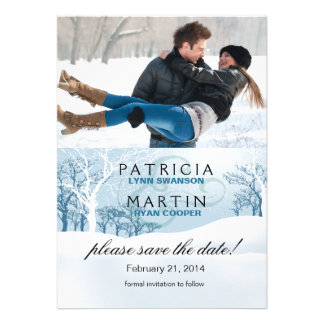 Snowy Winter Save the Date Photo - ice blue Cards