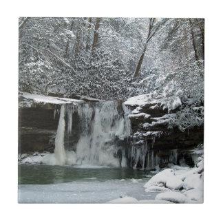 Snowy Winter Waterfall Tile