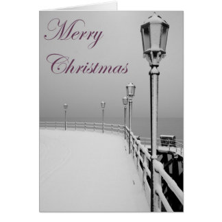 Snowy Worthing Pier Christmas Card