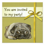 Snug pug 5.25x5.25 square paper invitation card