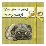 Snug pug personalized invitation