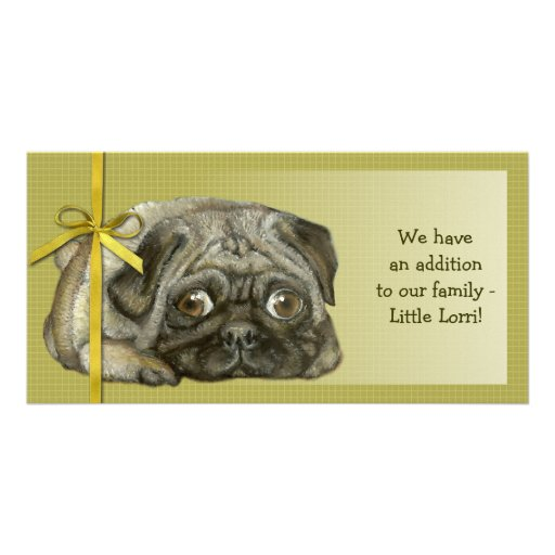 Snug pug personalized photo card